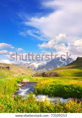 Bright green meadow with river on background of the high mountains and cloud