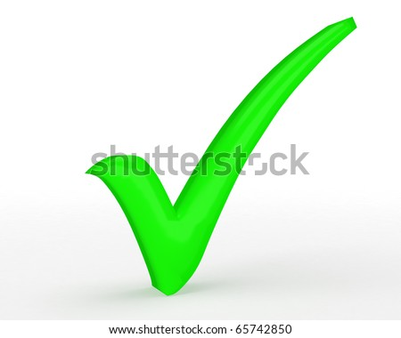 bright green tick with slight shadow isolated on white background
