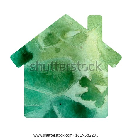 Bright green watercolor paint abstract background. House silouette. Stock photo ©