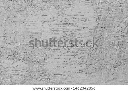 Bright Grey Grunge Plastered Wall Stucco Texture, Horizontal Detailed Natural Scratch Grungy Gray Coarse Rustic Textured Background Concrete Plaster Pattern Detail Blank Empty Copy Space Macro Closeup #1462342856