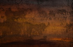 Bright grungy retro surface of cellar worn. Cracked veined lofted damaged horror dirty facade. Mystical bumpy messy broken wall of 3D digital grunge design. Medieval black mystery spooky dusk dungeon