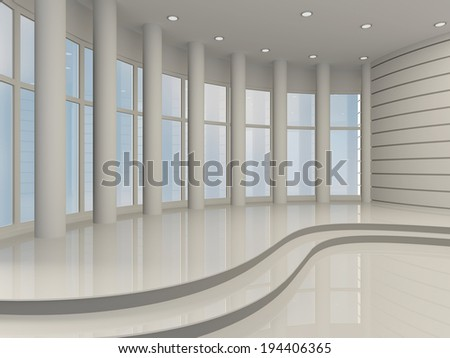 Bright hall with large windows and columns. 3D #194406365