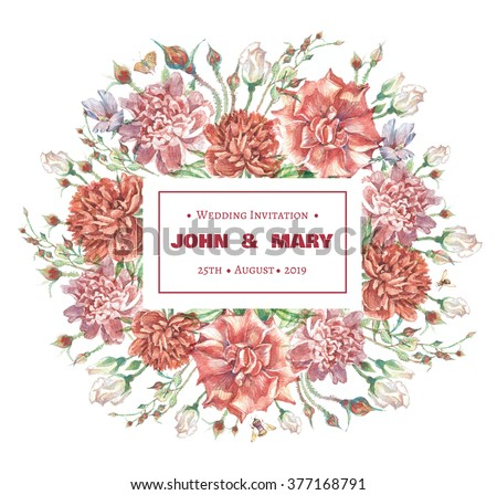 Bright hand drawn watercolor invitation card for wedding with red roses and pink and red  peonies isolated on white background #377168791