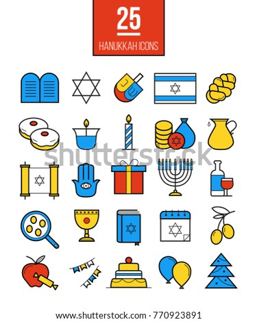 Bright Hanukkah line icons set. Modern Jewish culture symbols collection