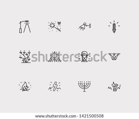 Bright icons set. Sunlight and bright icons with lantern, candelabrum, broken bulb. Set of lightbulb for web app logo UI design.