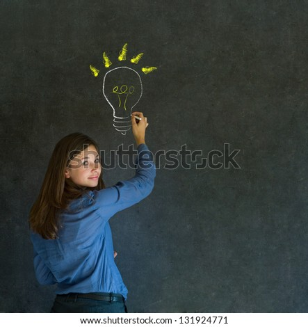 Bright idea chalk background lightbulb thinking business woman