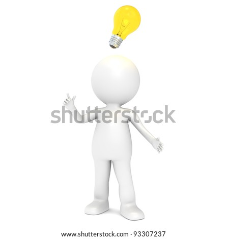 Bright Idea. 3D little human character having an Idea. Illuminative Light Bulb. People series.