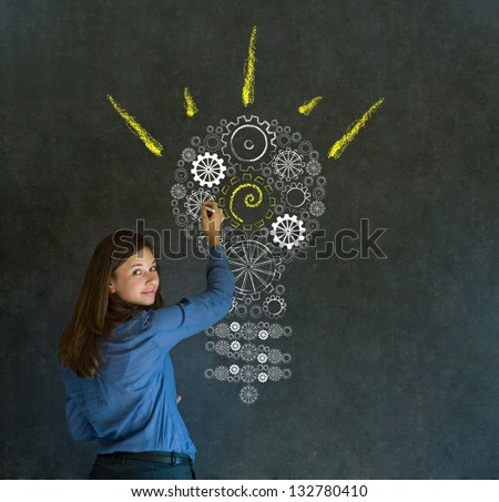 Bright idea gear cog lightbulb thinking business woman