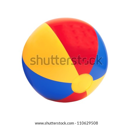 bright inflatable ball isolated on white background
