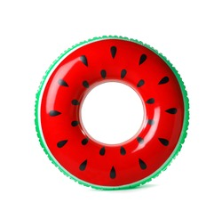 Bright inflatable ring isolated on white. Beach accessories