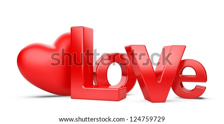 bright inscription love and heart isolated on a white background