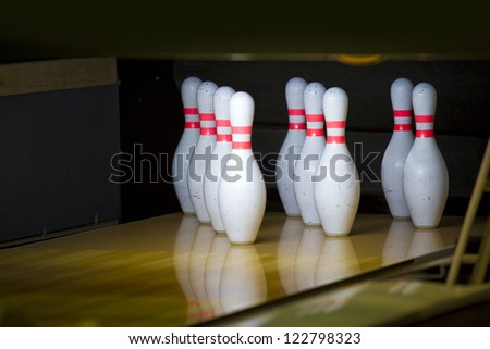 bright interior bowling and cafe - stock photo