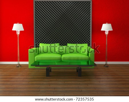 bright interior design of modern living room, red wall and green sofa, nice composition, 3d render