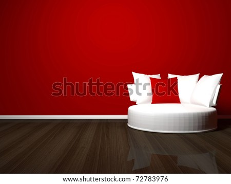 bright interior design of modern living room, white sofa, red wall, 3d render