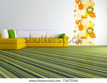 bright interior design of modern living room with big yellow sofa and floral wallpaper, 3d render