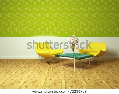 Bright Interior Design Of Modern Living Room With Yellow Armchairs ...