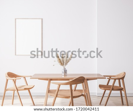 Bright interior dining room with wooden big table and wooden chairs on white wall, 3D render, 3d illustration