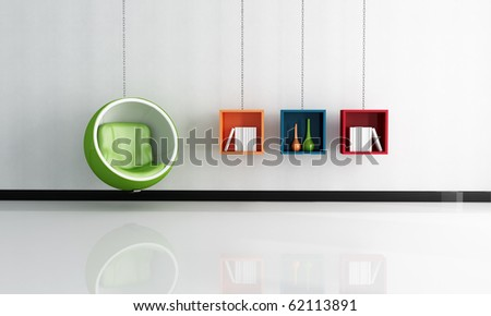 bright interior with green ball chair and shelves supported by chains - rendering
