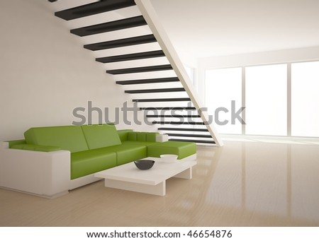 stock photo : bright interior with stair