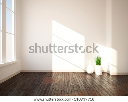 bright interior with wooden floor and vases