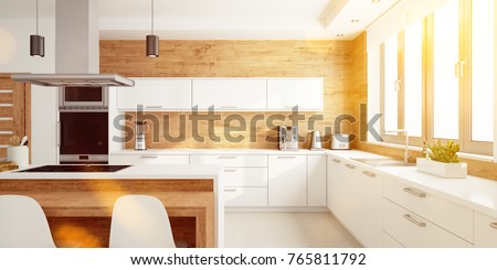 Bright kitchen in summer as eat-in-kitchen with modern interior design (3D Rendering)