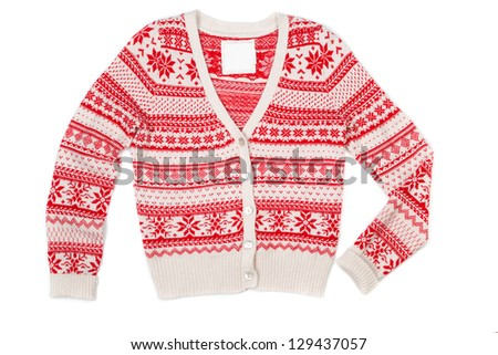 Bright knitted sweater with red pattern. Isolate on white.