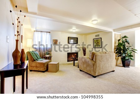 Bright large basement living room with fireplace and sofa.