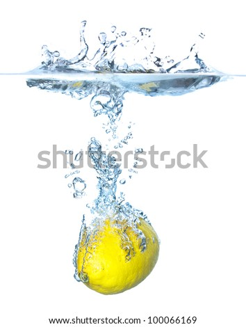 Bright lemon and splash. Air bubble and transparent water