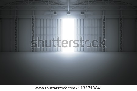 Bright light coming through open hangar doors. 3d rendering