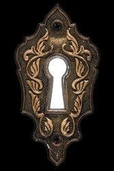 Bright light in the keyhole, decorative design element, isolated on black background
