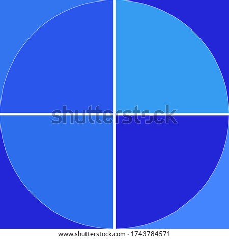 bright light, medium an darker blue raster illustration type background image. square and circle. white divider strips. four quadrants. backdrop and web presentation template. harmonic blue creation Stock photo ©