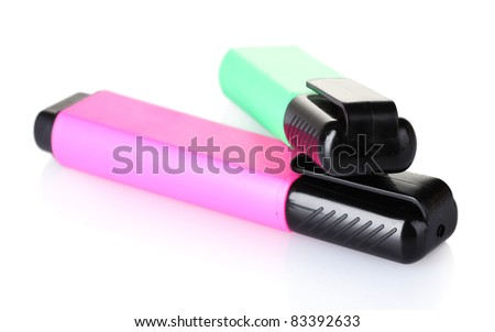 bright markers isolated on white - stock photo
