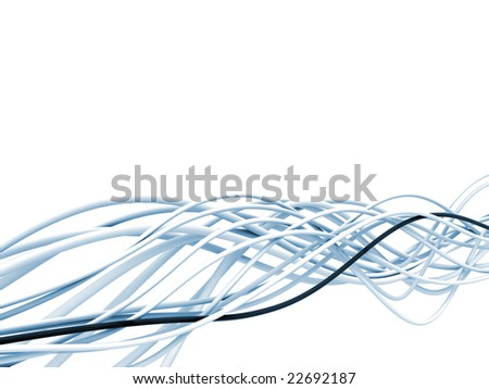 bright metallic fibre-optical blue and white cables on a white background