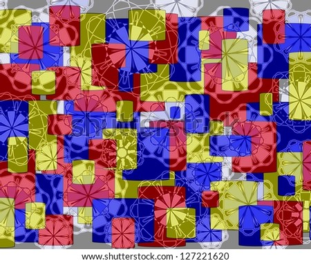 Bright modern geometric design in red yellow and blue  with floral motifs superimposed  and perfect for wallpapers and backgrounds