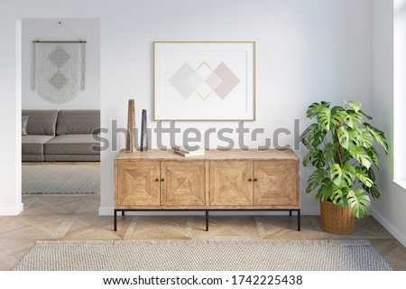 Bright modern hall with a horizontal poster above the wooden dresser, next to a potted plant, with a doorway overlooking the living room. Front view. 3d render. Stockfoto ©