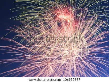 Bright multicolored firework in a dark sky.