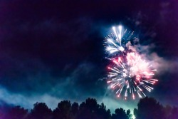 Bright multicolored fireworks in dark night sky