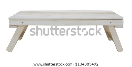 Bright natural wooden bench isolated on white background (design element)