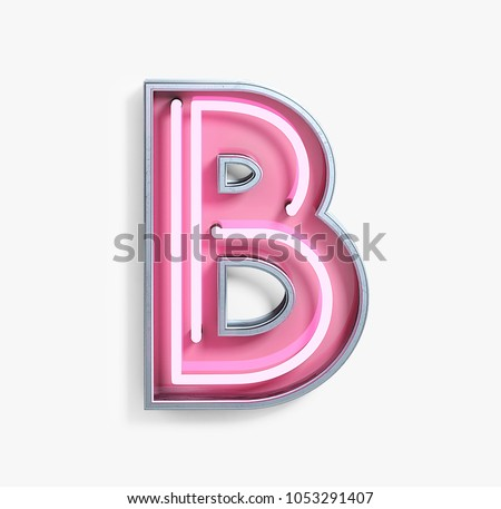 Bright Neon Font with fluorescent pink tubes. Letter B. Night Show Alphabet. 3d Rendering Isolated on White Background.