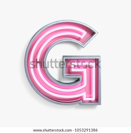 Bright Neon Font with fluorescent pink tubes. Letter G. Night Show Alphabet. 3d Rendering Isolated on White Background.
