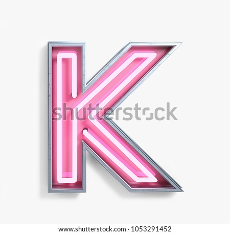 Bright Neon Font with fluorescent pink tubes. Letter K. Night Show Alphabet. 3d Rendering Isolated on White Background.