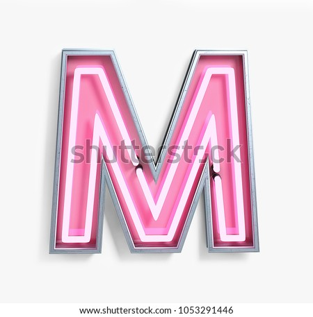 Bright Neon Font with fluorescent pink tubes. Letter M. Night Show Alphabet. 3d Rendering Isolated on White Background.