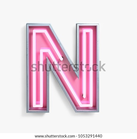 Bright Neon Font with fluorescent pink tubes. Letter N. Night Show Alphabet. 3d Rendering Isolated on White Background.