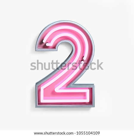 Bright Neon Font with Fluorescent Pink Tubes. Number 2. Night Show Alphabet. 3d Rendering Isolated on White background.