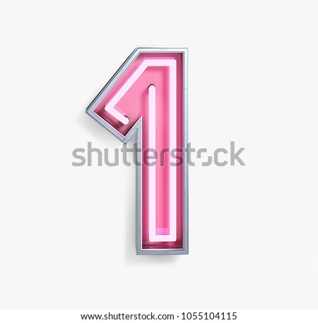 Bright Neon Font with Fluorescent Pink Tubes. Number 1. Night Show Alphabet. 3d Rendering Isolated on White background.
