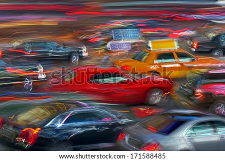 bright neon lights of night city and cars in the style of motion blur