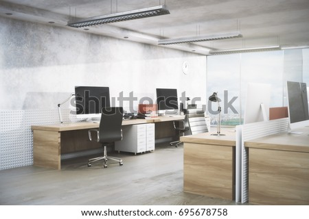 Bright office room interior with workplace, equipment, city view and daylight. Real estate, workspace, business concept. 3D Rendering
