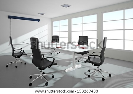 Bright office with windows and conference table