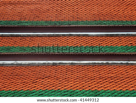 Bright orange and green roof  detail