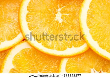 Bright orange background from slices of juicy oranges